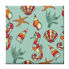 Seahorse Seashell Starfish Shell Tile Coasters