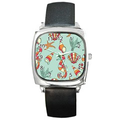 Seahorse Seashell Starfish Shell Square Metal Watch by Nexatart