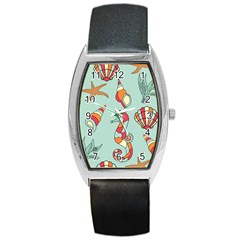 Seahorse Seashell Starfish Shell Barrel Style Metal Watch by Nexatart