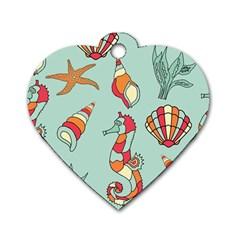 Seahorse Seashell Starfish Shell Dog Tag Heart (one Side) by Nexatart