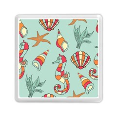 Seahorse Seashell Starfish Shell Memory Card Reader (square)  by Nexatart
