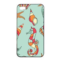 Seahorse Seashell Starfish Shell Apple Iphone 4/4s Seamless Case (black) by Nexatart