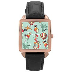 Seahorse Seashell Starfish Shell Rose Gold Leather Watch  by Nexatart