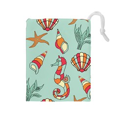 Seahorse Seashell Starfish Shell Drawstring Pouches (large)  by Nexatart
