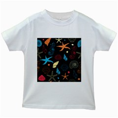Seahorse Starfish Seashell Shell Kids White T Shirts
