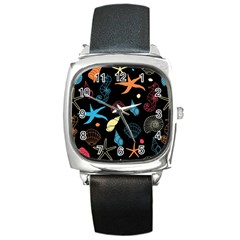 Seahorse Starfish Seashell Shell Square Metal Watch by Nexatart