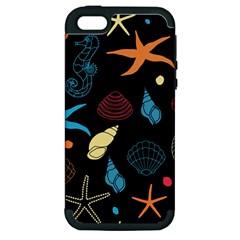 Seahorse Starfish Seashell Shell Apple Iphone 5 Hardshell Case (pc+silicone)