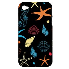 Seahorse Starfish Seashell Shell Apple Iphone 4/4s Hardshell Case (pc+silicone) by Nexatart
