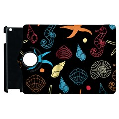 Seahorse Starfish Seashell Shell Apple Ipad 2 Flip 360 Case by Nexatart