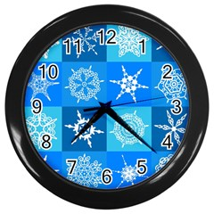 Seamless Blue Snowflake Pattern Wall Clocks (black) by Nexatart