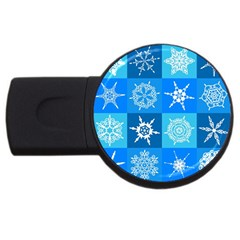 Seamless Blue Snowflake Pattern Usb Flash Drive Round (2 Gb)