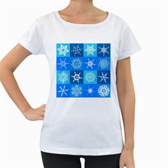 Seamless Blue Snowflake Pattern Women s Loose Fit T Shirt (white)