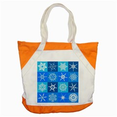 Seamless Blue Snowflake Pattern Accent Tote Bag by Nexatart