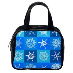 Seamless Blue Snowflake Pattern Classic Handbags (one Side)
