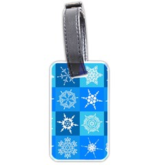 Seamless Blue Snowflake Pattern Luggage Tags (one Side)  by Nexatart