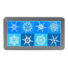 Seamless Blue Snowflake Pattern Memory Card Reader (mini)