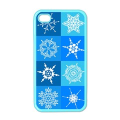 Seamless Blue Snowflake Pattern Apple Iphone 4 Case (color)