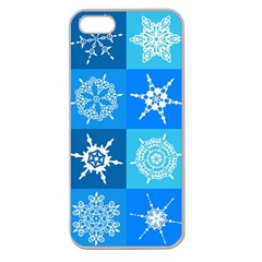 Seamless Blue Snowflake Pattern Apple Seamless Iphone 5 Case (clear) by Nexatart
