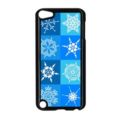 Seamless Blue Snowflake Pattern Apple Ipod Touch 5 Case (black) by Nexatart