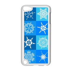 Seamless Blue Snowflake Pattern Apple Ipod Touch 5 Case (white) by Nexatart