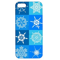 Seamless Blue Snowflake Pattern Apple Iphone 5 Hardshell Case With Stand