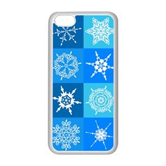 Seamless Blue Snowflake Pattern Apple Iphone 5c Seamless Case (white)