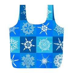 Seamless Blue Snowflake Pattern Full Print Recycle Bags (l)