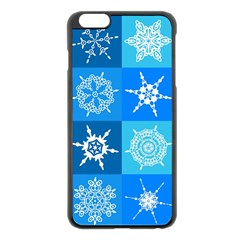 Seamless Blue Snowflake Pattern Apple Iphone 6 Plus/6s Plus Black Enamel Case
