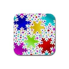 Seamless Snowflake Pattern Rubber Coaster (square)  by Nexatart