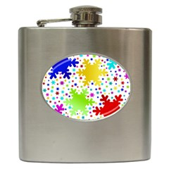 Seamless Snowflake Pattern Hip Flask (6 Oz)