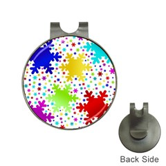 Seamless Snowflake Pattern Hat Clips With Golf Markers by Nexatart