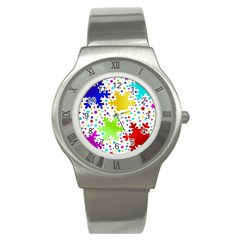 Seamless Snowflake Pattern Stainless Steel Watch