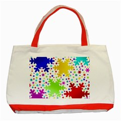 Seamless Snowflake Pattern Classic Tote Bag (red)