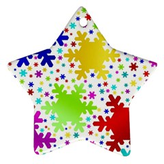 Seamless Snowflake Pattern Star Ornament (two Sides)