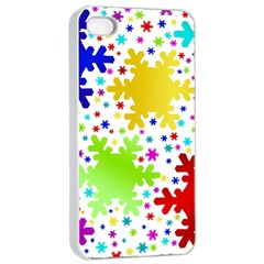 Seamless Snowflake Pattern Apple Iphone 4/4s Seamless Case (white)