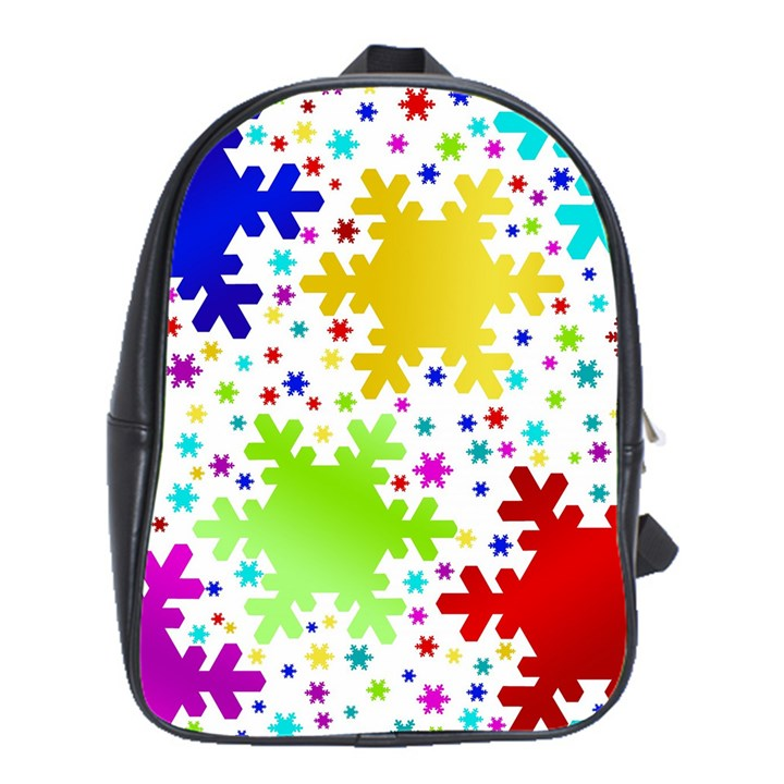 Seamless Snowflake Pattern School Bags (XL)