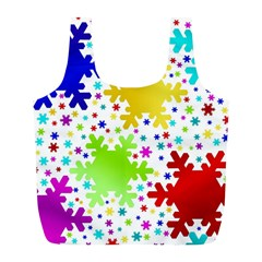 Seamless Snowflake Pattern Full Print Recycle Bags (l)
