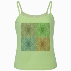 Seamless Kaleidoscope Patterns In Different Colors Based On Real Knitting Pattern Green Spaghetti Tank by Nexatart