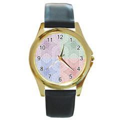 Seamless Kaleidoscope Patterns In Different Colors Based On Real Knitting Pattern Round Gold Metal Watch