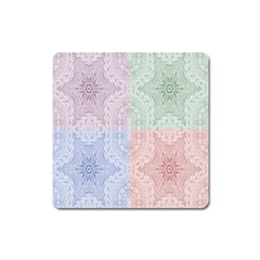 Seamless Kaleidoscope Patterns In Different Colors Based On Real Knitting Pattern Square Magnet by Nexatart