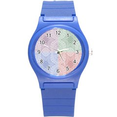 Seamless Kaleidoscope Patterns In Different Colors Based On Real Knitting Pattern Round Plastic Sport Watch (s)