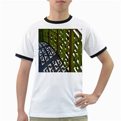 Shadow Reflections Casting From Japanese Garden Fence Ringer T Shirts