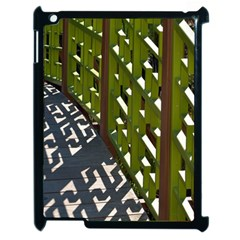Shadow Reflections Casting From Japanese Garden Fence Apple Ipad 2 Case (black)
