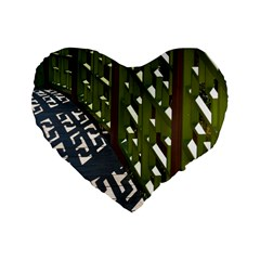 Shadow Reflections Casting From Japanese Garden Fence Standard 16  Premium Heart Shape Cushions