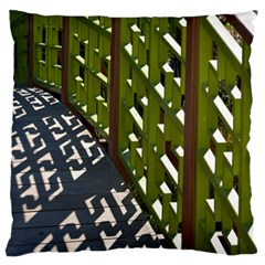 Shadow Reflections Casting From Japanese Garden Fence Large Flano Cushion Case (two Sides)