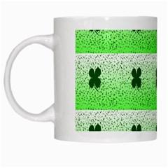 Shamrock Pattern White Mugs by Nexatart
