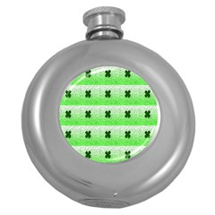 Shamrock Pattern Round Hip Flask (5 Oz)