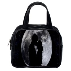 Silhouette Of Lovers Classic Handbags (one Side)