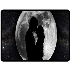 Silhouette Of Lovers Double Sided Fleece Blanket (large)  by Nexatart