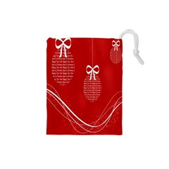 Simple Merry Christmas Drawstring Pouches (small)